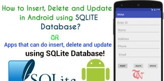 insert delete update in android using sqlite database